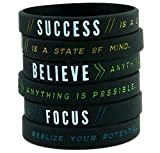 DEO JEWELRY Success, Focus, Believe - Motivational Silicone Wristbands with Inspirational...
